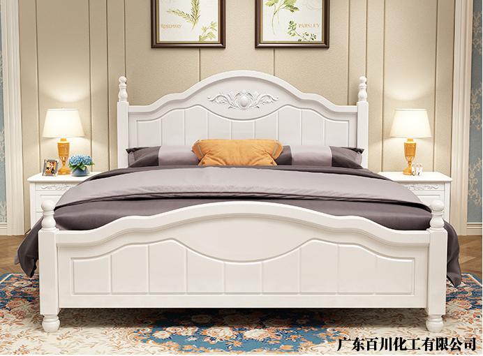 实迪实木床PE白底漆、PU白面漆涂装效果